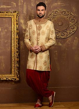 Golden Benarasi Silk Dhoti Style Chipkan Sherwani