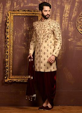 Golden Benarasi Silk Dhoti Style Classic Sherwani