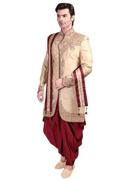 Golden Brocade Patiala Style Sherwani