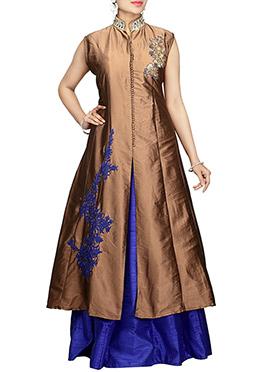 Golden Brown Art Silk A Line Long choli Lehenga