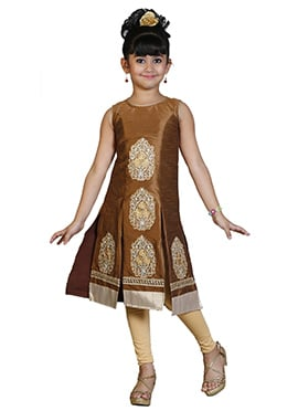 Golden Brown Kids Salwar Kameez