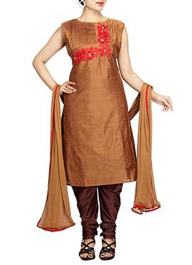Golden Brown Pure Silk Cotton Churidar Suit