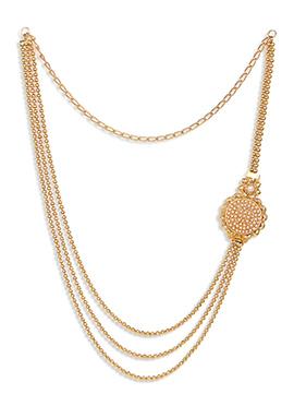 Golden Chain Layered Brass Necklace Set