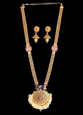 Golden Chain Peacock Design Necklace Set