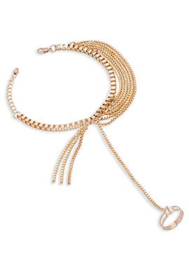Golden Chain Ring Bracelet