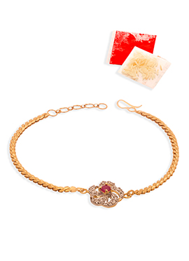 Golden Chained Stones Rakhi