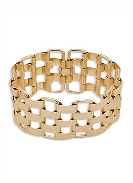 Golden Checkered Design Bracelet