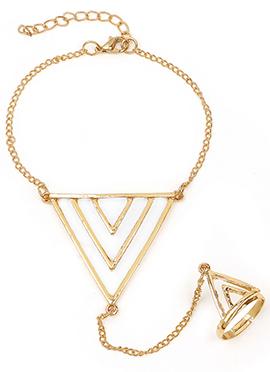 Golden Classy Triangle Shape Haath Phool