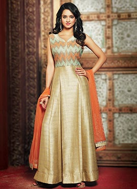 Golden color Art Silk Anarkali Suit