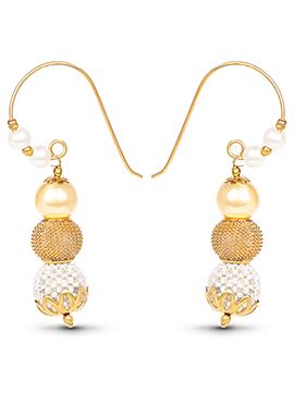 Golden Color Beads Studded Hook Earrings