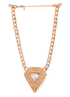Golden Color Crystals Studded Necklace