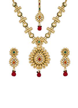 Golden Color Floral Style Necklace Set