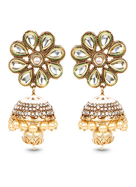 Golden Color Floral Style Stone Studded Jhumkas