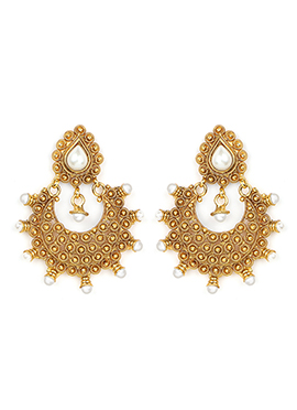 Golden Color Foliage Designed Pearl Studded Chand Balis
