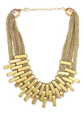 Golden Color Geometric Patterned Necklace