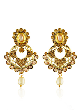 Golden Color One Stop Fashion Drop Earrings