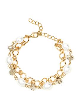 Golden Color Pearl N Crystals Studded Bracelet