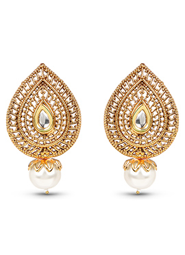 Golden Color Pearl Studded Drop Earrings