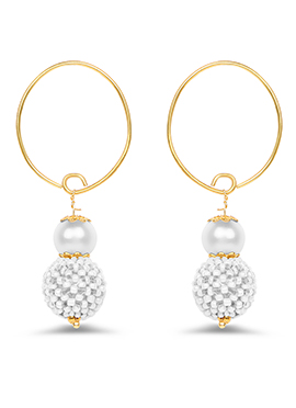Golden Color Pearl Studded Hoop Earrings