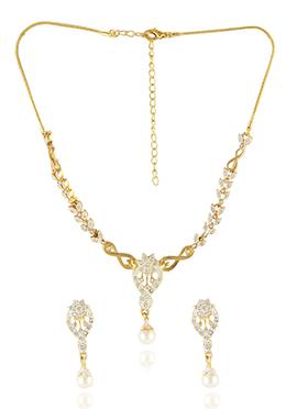 Golden Color Stone Studded Necklace Set