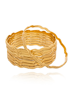 Golden Color Wavy Shaped Bangles