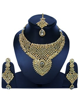Golden Color Zircon Stone Necklace Set
