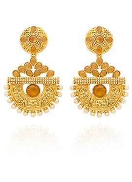Golden Colored Beige Stone Dangler Earring
