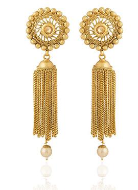 Golden Colored Beige Stone Jhumka Earring