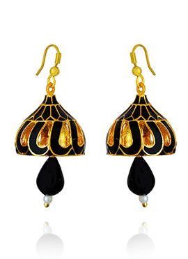 Golden Colored Black Meenakari Jhumka Earring