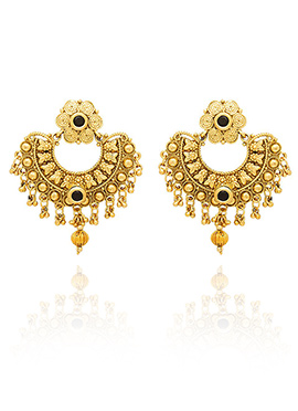 Golden Colored Black Stone Chaand Bali Earring