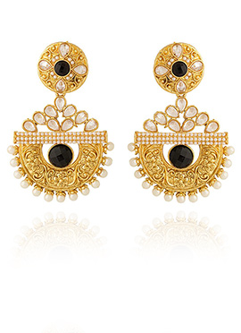 Golden Colored Black Stone Dangler Earring