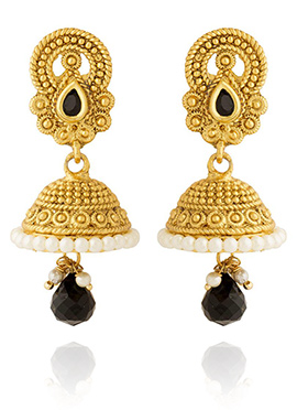 Golden Colored Black Stone Jhumka Earring