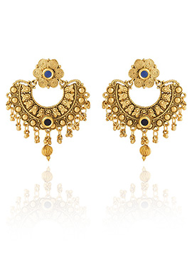 Golden Colored Blue Stone Chaand Bali Earring