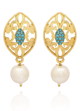 Golden Colored Blue Stone Drop Earring