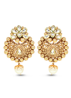 Golden Colored Floral Designed Drop Earrings