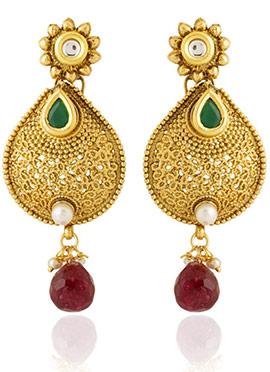 Golden Colored Green Kundan Dangler Earring