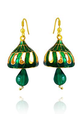 Golden Colored Green Meenakari Jhumka Earring