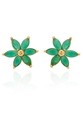Golden Colored Green Stones Stud Earring