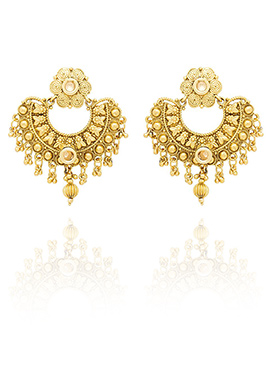 Golden Colored Kundan Chaand Bali Earring