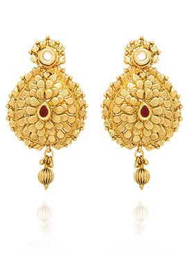 Golden Colored Maroon Stone Dangler Earring
