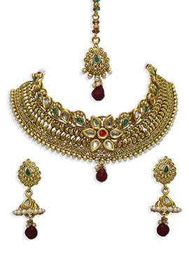 Golden Colored Moti N Stone Necklace Set
