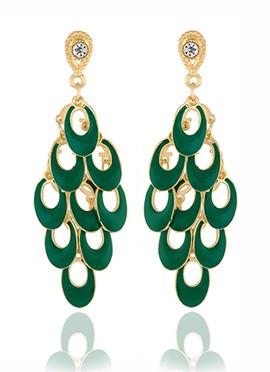 Golden Colored N Green Chandelier Earring