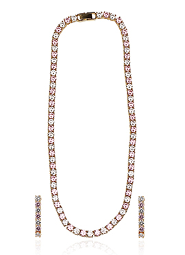 Golden Colored N Pink Stone Necklace Set