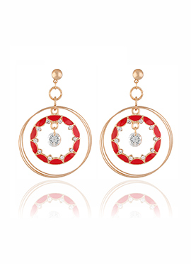 Golden Colored N Red Crystal Dangler Earring