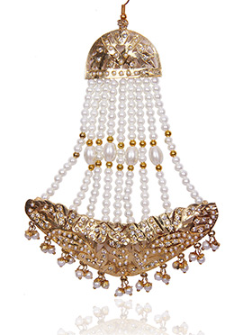 Golden Colored N White Beads Jhoomer