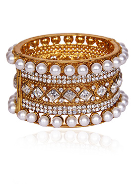 Golden Colored N White Beads Kada