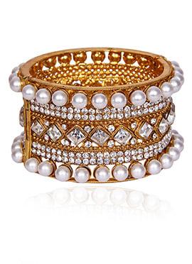 Golden Colored N White Beads Kada