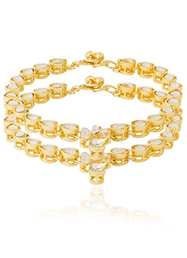 Golden Colored N White Kundan Anklet