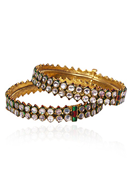 Golden Colored N White Kundan Bangles