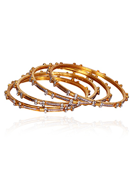 Golden Colored N White Stone Bangles